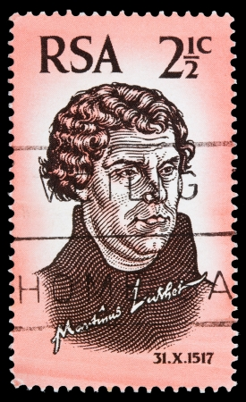 SOUTH AFRICA - CIRCA 1967  A stamp printed in South Africa celebrates the 450 anniversary of the Protestant Reformation, shows Martin Luther, circa 1967