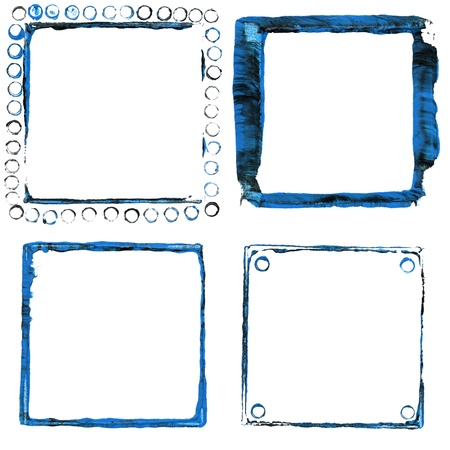 Set of blue acrylic paint frames Stock Photo - 20879435