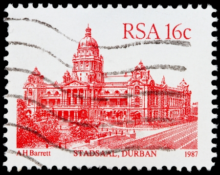 suid: SOUTH AFRICA - CIRCA 1987  A stamp printed in South Africa shows image of the Stadsaal building in Durban, circa 1987