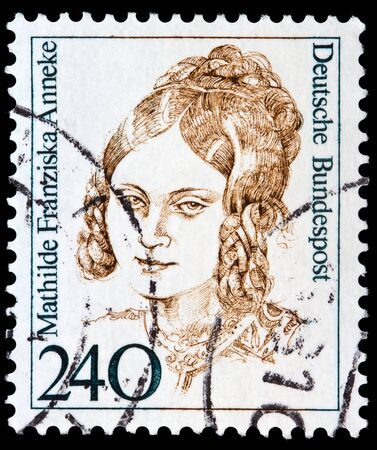 abolitionist: GERMANY - CIRCA 1988: A stamp printed in the Germany shows Mathilde Franziska Anneke, American Author, circa 1988