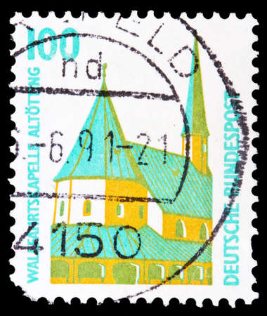 GERMANY - CIRCA 1996: A stamp printed in Germany shows image of a chapel in the town of Altotting, series, circa 1996