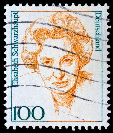 elisabeth: GERMANY - CIRCA 1988: A stamp printed in Germany shows Elisabeth Schwarzhaupt, circa 1988  Editorial