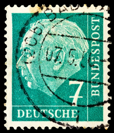 theodor: GERMANY - CIRCA 1954: A stamp printed in Germany, shows portrait of Theodor Heuss a liberal German politician and first President of the FRG, circa 1954