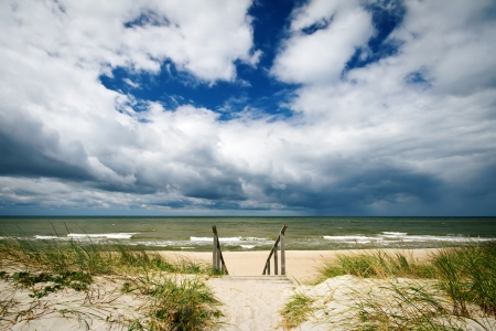 Beautiful scenic view of stormy Baltic sea Imagens