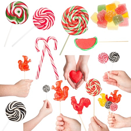 Big size set of various sweets and hands holding them isolated on white  photo