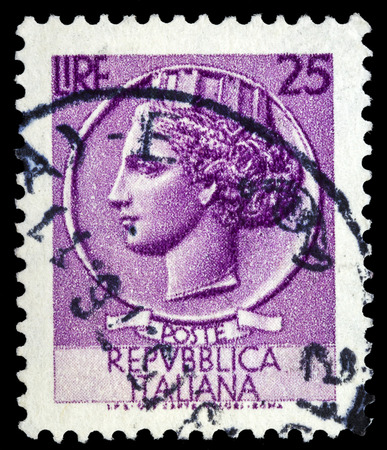 ITALY - CIRCA 1953: A stamp printed in Italy shows Italia Turrita, series, circa 1953
