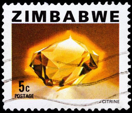ZIMBABWE - CIRCA 1980: A stamp shows image of a citrine gemstone, circa 1980