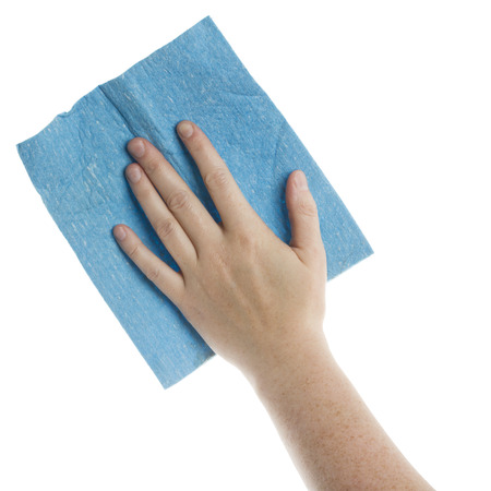 Hand with blue cleaning cloth isolated on white
