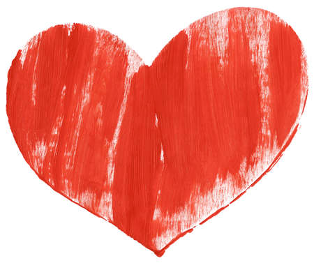 Big size red hand painted heart isolated on white  photo