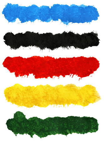 big size: Big size colorful acrylic brush strokes isolated on white