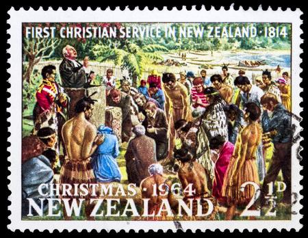 rev: NEW ZEALAND - CIRCA 1964: Rev. Samuel Marsden Conducting First Christian Service, Rangihoua Bay, Christmas, circa 1964 Stock Photo