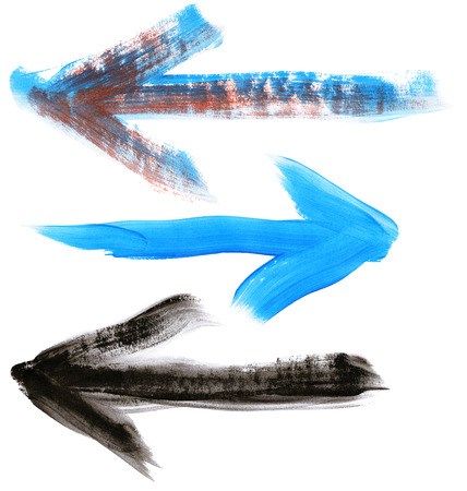 Set of big size  hand painted brush stroke arrows isolated on white