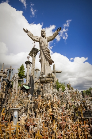 SIAULIAI, LITHUANIA - CIRCA JULY 2013 - Staue of Jesus at Hill of Crosses a famous site of pilgrimage in northern Lithuania.