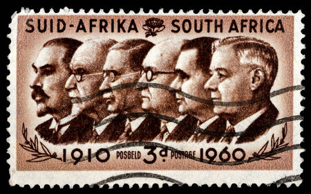 smuts: SOUTH AFRICA - CIRCA 1960: A stamp printed in the South Africa shows Prime Ministers Botha, Smuts, Hertzog, Malan, Strydom and Verwoerd, circa 1960   Editorial
