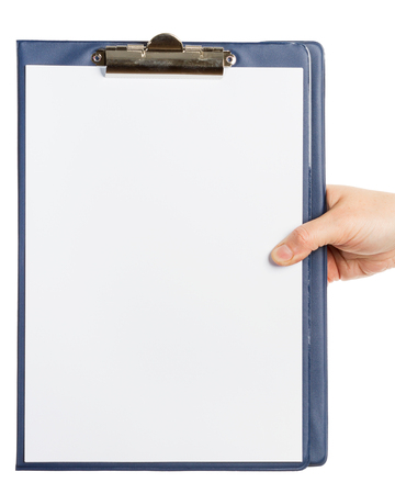Hand holding clipboard with blank sheet of paper isolated on white background  Imagens