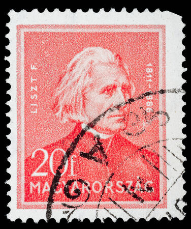 liszt: HUNGARY - CIRCA 1932  A stamp printed in Hungary, shows portrait of Ferenc Liszt  1811 - 1886 , circa 1932  Editorial