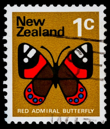 vanessa: NEW ZEALAND - CIRCA 1970: A stamp printed in New Zealand shows image of a red admiral butterfly,  circa 1970