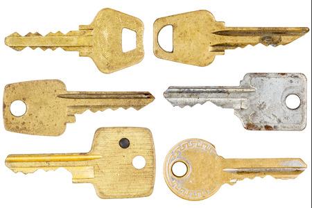 Big size set of old keys isolated on white Stock Photo - 25654283