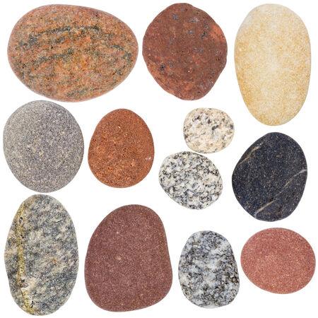 large rock: Big size set of smooth sea rocks isolated on white Stock Photo