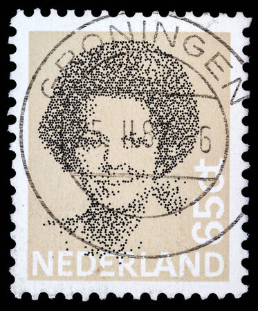 beatrix: NETHERLANDS - CIRCA 1982  A stamp printed in the Netherlands shows image of Queen Beatrix, circa 1982