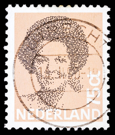 beatrix: NETHERLANDS - CIRCA 1980: A stamp printed in the Netherlands shows image of Queen Beatrix, circa 1980