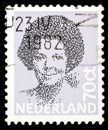 beatrix: NETHERLANDS - CIRCA 1982: A stamp printed in the Netherlands shows image of Queen Beatrix, circa 1982