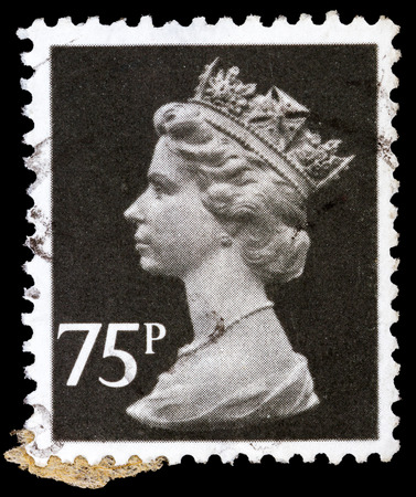 UNITED KINGDOM - CIRCA 1971 to 1996: An English Used Postage Stamp showing Portrait of Queen Elizabeth 2nd, circa 1971 - 1996
