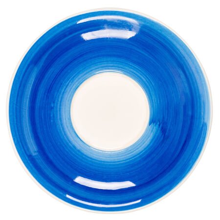 Blue plate isolated on white background photo