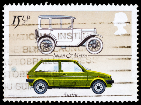 UNITED KINGDOM - CIRCA 1982:  A stamp printed in United Kingdom celebrating the British Motor Industry, showing an Austin Seven and Austin Metro circa 1982