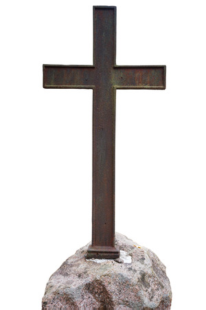 Old metal cross isolated on white background photo