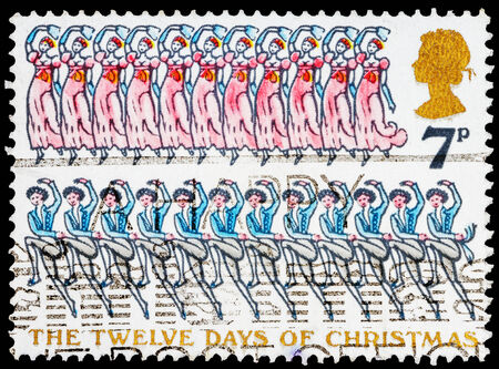 lords: UNITED KINGDOM - CIRCA 1977:  A stamp printed in United Kingdom shows Twelve Lords and Eleven Ladies, circa 1977
