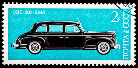 USSR - CIRCA 1976: A stamp printed in the USSR (Russia) shows old soviet car 1945  ZIS_110 , series, circa 1976.