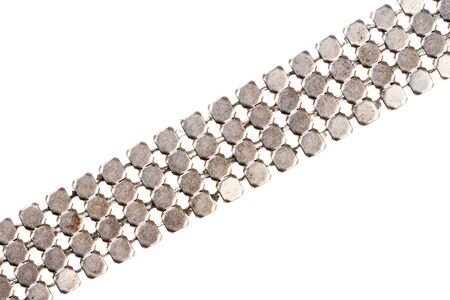 silver plated: Old massive silver plated chain bottom detail isolated on white