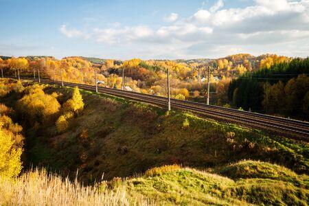 Autumn landscape with railway photo