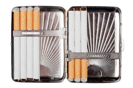 cigarette case: Cigarette case wit some cigarettes isolated on white