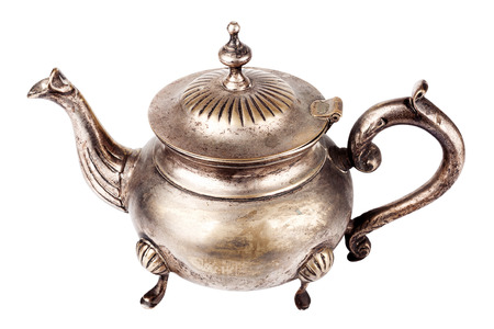 silver plated: Antique silver plated teapot on white background