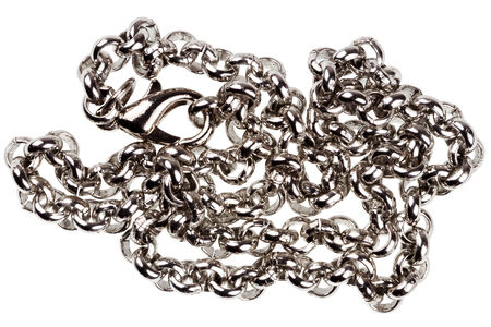silver plated: Old silver plated chain isolated on white