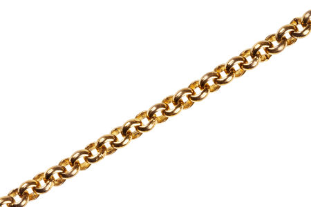 Gold chain isolated on white background photo