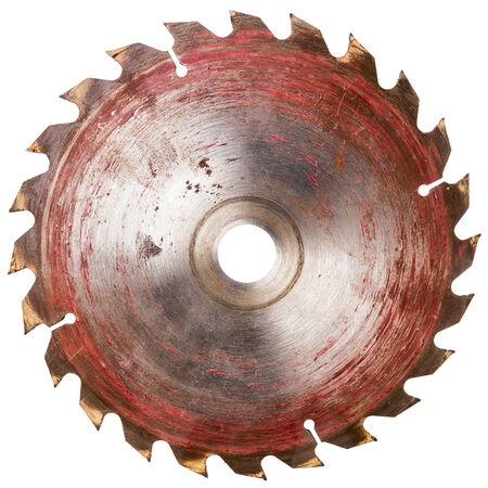 Old circular saw blade isolated on white  photo