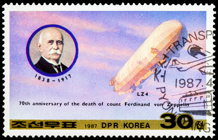 ferdinand: NORTH KOREA - CIRCA 1987: A stamp printed in North Korea honoring 70th annivversary of the death of count Ferdinand von Zeppelin, circa 1987