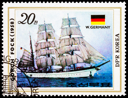 fock: NORTH KOREA - CIRCA 1987: A stamp printed in North Korea shows training sailboat Gorch Fock, West Germany, 1958, circa 1987   Stock Photo
