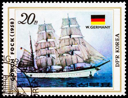 NORTH KOREA - CIRCA 1987: A stamp printed in North Korea shows training sailboat Gorch Fock, West Germany, 1958, circa 1987   Stock Photo