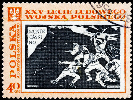 POLAND - CIRCA 1968: A stamp is printed in Poland shows Monte Cassino battle,series, circa in 1968.  photo
