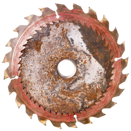 Two rusty circular saw blades isolated on white photo