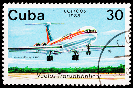CUBA - CIRCA 1988: A Stamp printed in CUBA shows image of the airplane in transatlantic flight, Havana - Paris in 1983, circa 1988