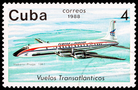 CUBA - CIRCA 1988: A Stamp printed in CUBA shows image of the airplane in transatlantic flight, Havana - Prague in 1961, circa 1988