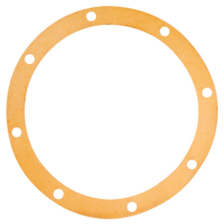 gasket: Old circle shape paper gasket isolated on white background