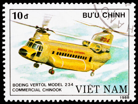 VIETNAM - CIRCA 1988: a stamp printed in Vietnam shows Boeing vertol 234 commercial chinook helicopter, circa 1988