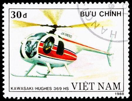 VIETNAM - CIRCA 1988: a stamp printed in Vietnam shows KawasakiHughes 369 HS helicopter, circa 1988