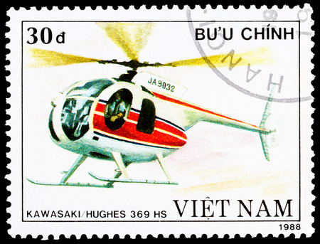 VIETNAM - CIRCA 1988: a stamp printed in Vietnam shows KawasakiHughes 369 HS helicopter, circa 1988